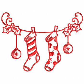 Christmas Stockings - Christmas Redwork #04 Machine Embroidery Design