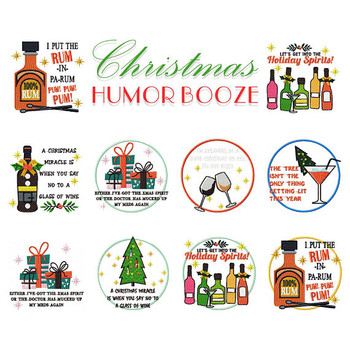 Christmas Humor Booze Collection of 11 Machine Embroidery Designs