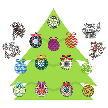 Christmas Ornaments Collection of 16 Machine Embroidery Designs
