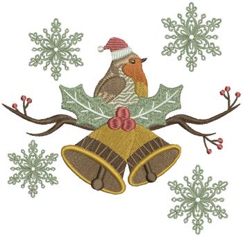 Christmas Robin #06 Machine Embroidery Design