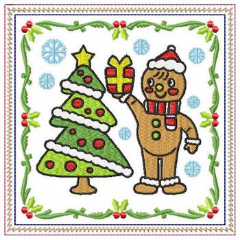 Ginger Bread Mug Rug #01 In The Hoop Machine Embroidery Design