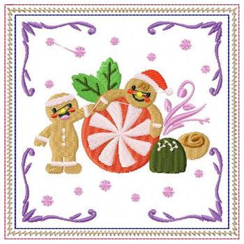 Ginger Bread Mug Rug #04 In The Hoop Machine Embroidery Design