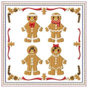 Ginger Bread Mug Rug #06 In The Hoop Machine Embroidery Design