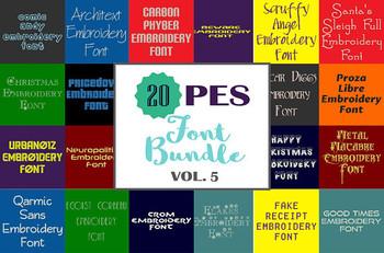 20 PES Font Bundle - Volume 5 - 20 Machine Embroidery Fonts