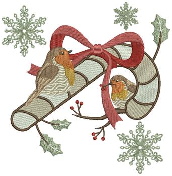Christmas Robin #07 Machine Embroidery Design