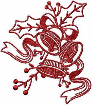 Bells - Christmas Redwork #10 Machine Embroidery Design