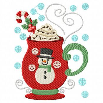 Mug Rug Sweet Snowman Hot Drink #01 In The Hoop Machine Embroidery Design