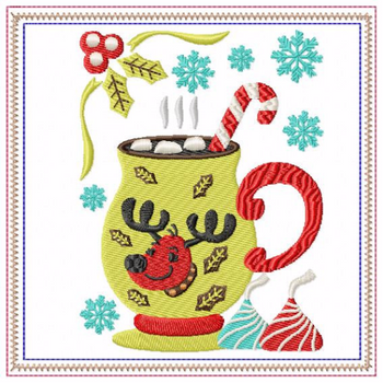 Mug Rug Reindeer Hot Drink #04 In The Hoop Machine Embroidery Design