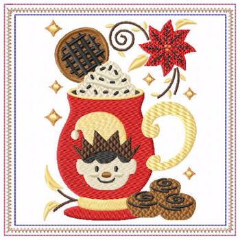 Mug Rug  Cookie Elf Hot Drink #05 In The Hoop Machine Embroidery Design