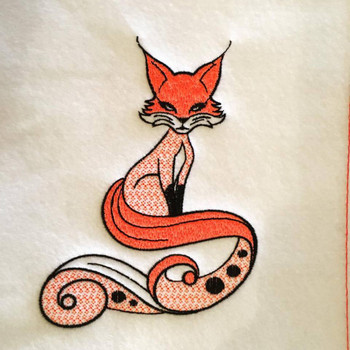 Fox Machine Embroidery Design Stitched