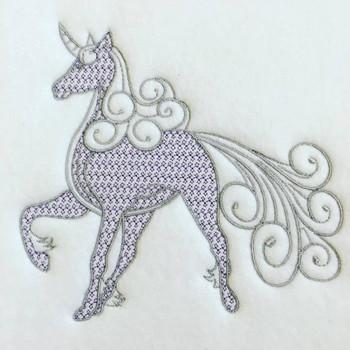 Unicorn Machine Embroidery Design Stitched
