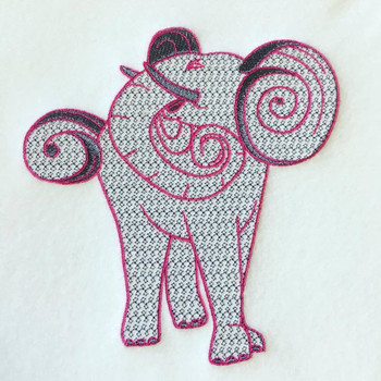 Elephant Machine Embroidery Design Stitched