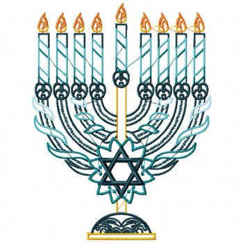 Menora - Blue Chanukah - Hanukkah #01 Machine Embroidery Design