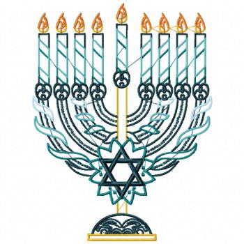 Menora - Blue Chanukah - Hanukkah #01 Machine Embroidery Design