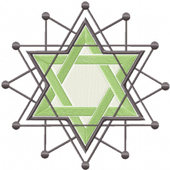 Green Chanukah - Hanukkah #08 Machine Embroidery Design