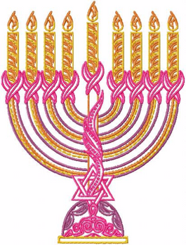 Menora - Pink Chanukah - Hanukkah #02 Machine Embroidery Design