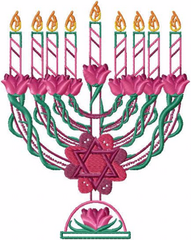 Menora - Fuschia Chanukah - Hanukkah #03 Machine Embroidery Design