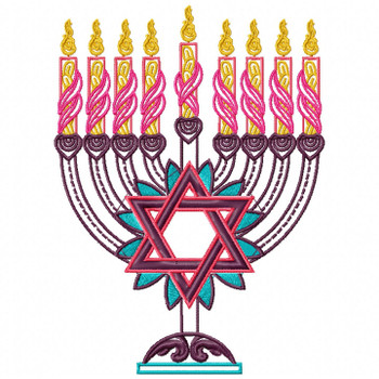 Menora - Yellow Chanukah - Hanukkah #05 Machine Embroidery Design