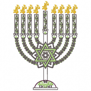 Green Chanukah - Hanukkah #06 Machine Embroidery Design