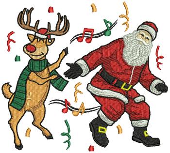 Dancing Santa and Reindeer - Humor Christmas #03 Machine Embroidery Design