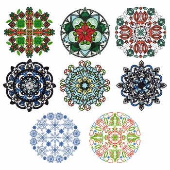 Christmas Mandalas Collection of 8 Machine Embroidery Designs in Stitched