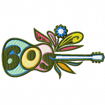 Retro Guitar - Psychedelic 60's #04 Machine Embroidery Design