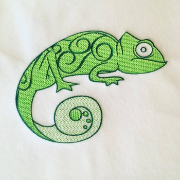 Gecko Machine Embroidery Design Stitched