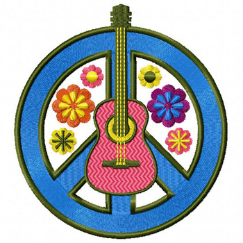 The Peace Guitar - Psychedelic 60's #08 Machine Embroidery Design