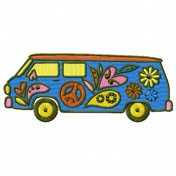 Hippie Van - Psychedelic 60's #09 Machine Embroidery Design
