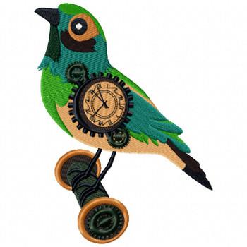 Steampunk Bird Clock Face - Machine Embroidery Design - Steampunk Collection #20