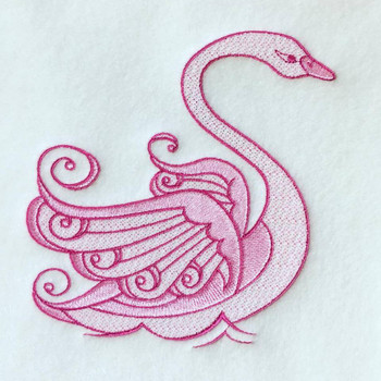 Swan Twin Pack Machine Embroidery Design Stitched