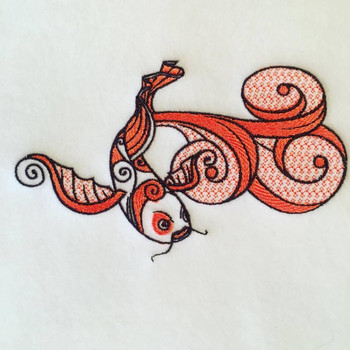 Koi Carp Machine Embroidery Design Stitched
