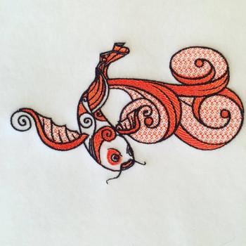 Koi Carp Machine Embroidery Design Stitched