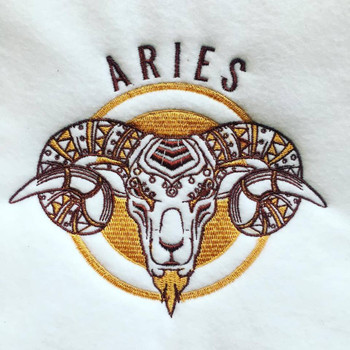 Aries Machine Embroidery Design Stitched