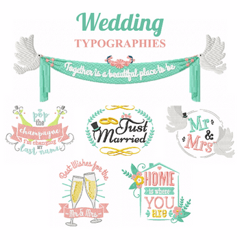 Wedding Typography Collection of 7 Machine Embroidery Designs