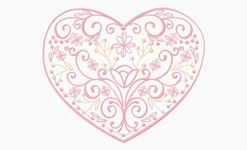Abstract Heart Swirls Machine Embroidery Deign