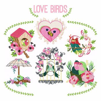 Love Birds Collection of 6 Machine Embroidery Designs