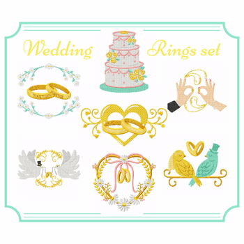 Wedding Rings Collection of 7 Machine Embroidery Designs