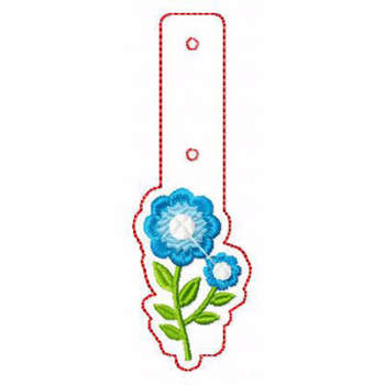 Flower Embellishments 02 Key Fobs - In The Hoop Machine Embroidery Design