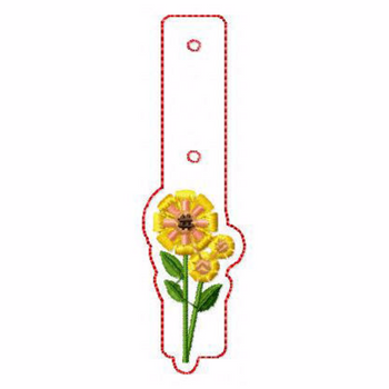Flower Embellishments 04 Key Fobs - In The Hoop Machine Embroidery Design