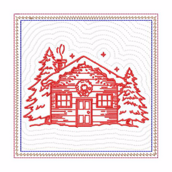 In The Hoop Machine Embroidery Mug Rug - Christmas Redwork House Collection #06