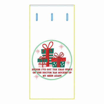 ITH Christmas Humor Wine Bag 05 - In The Hoop Machine Embroidery Design