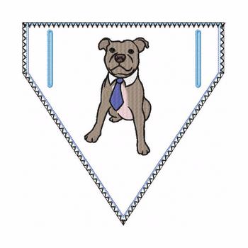 Pitbull Doggie Bandanna 03 - In The Hoop Machine Embroidery Design