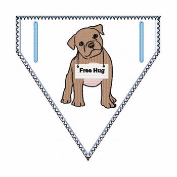 Pitbull Doggie Bandanna 05 - In The Hoop Machine Embroidery Design