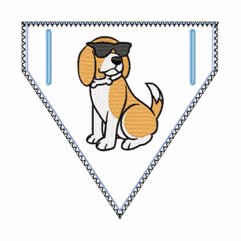 Beagle Doggie Bandanna 01 - In The Hoop Machine Embroidery Design