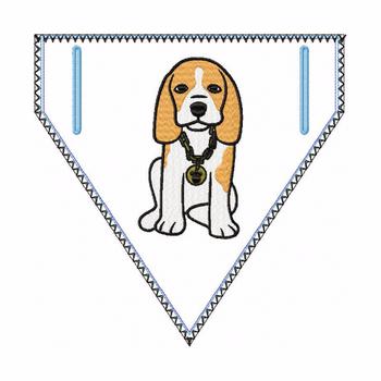 Beagle Doggie Bandanna 04 - In The Hoop Machine Embroidery Design