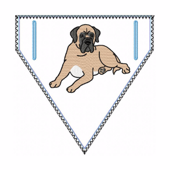 Bullmastiff Doggie Bandana 03 - In The Hoop Machine Embroidery Design