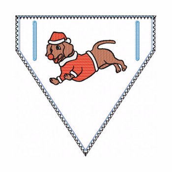 Doggie Bandana Santa Dog 03 - In The Hoop Machine Embroidery Design