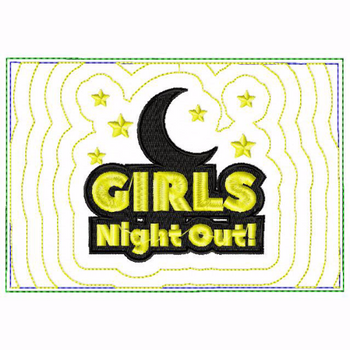 Girls Night Small Money Purse 02 - In The Hoop Machine Embroidery Design