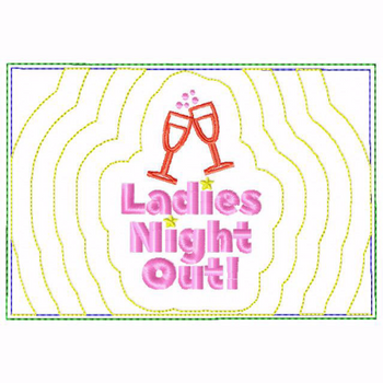 Girls Night Small Money Purse 03 - In The Hoop Machine Embroidery Design